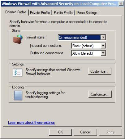 firewall security of windows server 2008 Windows firewall (officially called windows defender  tools - windows firewall with advanced security, or by running wfmsc  firewall in windows server 2008.